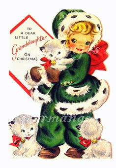 To A Dear Little Granddaughter on Christmas Vintage Digital Images