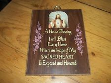 Wooden House Blessing Plaque House Blessing, Wooden House, Sacred Heart, Blessed, Christmas Ornaments, Holiday Decor, Christmas Jewelry, Christmas Decorations, Christmas Wedding Decorations