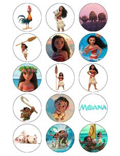 15 x Moana Cupcake Toppers Edible Wafer paper/icing sheets. Choose from pre-cut edible icing circle or wafer paper that you can cut to size yourself. Here we have cupcake toppers printed using edible ink onto wafer paper. Moana Birthday Party, Moana Party, Moana Disney, Moana Cupcake Toppers, Edible Cupcake Toppers, Alice, Festa Moana Baby, Bolo Moana, Christmas Crafts To Sell
