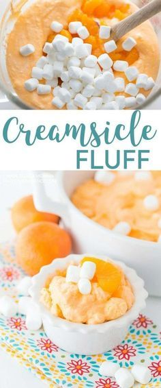 creamsicle fluff is the perfect treat. Filled with mandarin oranges and marshmallows this fluff is full of flavor!This creamsicle fluff is the perfect treat. Filled with mandarin oranges and marshmallows this fluff is full of flavor! Fluff Desserts, Brownie Desserts, Jello Desserts, Dessert Salads, Oreo Dessert, Mini Desserts, Easy Desserts, Delicious Desserts, Yummy Food