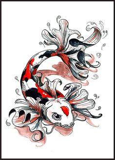 Koi Fish Tattoo Designs for Men Koi Fish Tattoo, Fish Art, Animal Drawings, Old School Tattoo Designs, Fish Drawings, Tattoo Designs Men, Color Tattoo, Animal Tattoo, Tattoo Designs