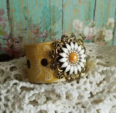 Bracelets For Ladies  :    Yellow DAISY FloWeR & Filigree Patina Leather Cuff Bracelet~ Colorful/ Rustic/ Country Chic/ Gypsy Glam/ Boho/ Daisy/ Romantic/ Love/ Spring  - #Bracelets  https://talkfashion.net/acceseroris/bracelets/bracelets-for-ladies-yellow-daisy-flower-filigree-patina-leather-cuff-bracelet-colorful-rustic-c/