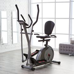 Elliptical/Recumbent Bike/Upright Bike 3-in-1 Trio Trainer in Silver. Elliptical trainer, upright cycle, and recumbent cycle. Effective, efficient, and compact. Seamlessly transitions, no adjustments needed. Computer monitor with 21 training programs. Heart rate monitor/pulse grips, Motorized magnetic resistance, dual-action handlebars.