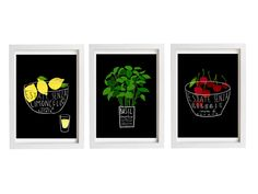 Kitchen art - set of 3 food.