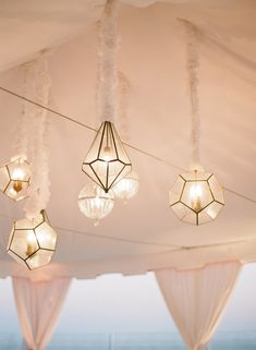 Geometric wedding theme and details is one of the hottest trends of last and this year; we've already told you of geometric wedding cakes, and now it's time to discuss décor and other touches. A geometric wedding backdrop. Hanging Lanterns, Hanging Lights, Glass Lanterns, String Lights, Festoon Lights, Mindy Weiss, Event Lighting, Wedding Lighting, Lighting Ideas