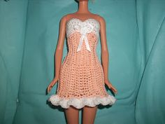 "Crochet for Barbie (the belly button body type): ""Creamsicle Cutie"" dress"