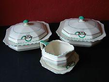 Set of 2 Art Deco Serving Tureens, Gravy Boat & Dish Crown Devon 1930's