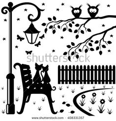 Vector illustration. Two cats sitting on a park bench under a street lamp.