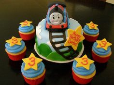 Thomas the Train Themed Cake and Cupcakes