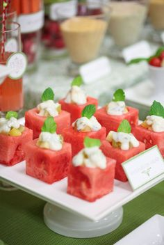 A whole slew of wedding appetizer ideas: Oh these would be so good on a hot Arizona summer day!
