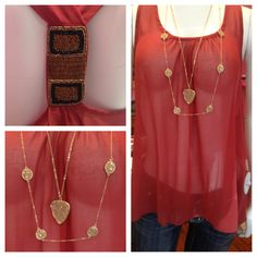 maroon sheer top with beaded detail on back. $42.50