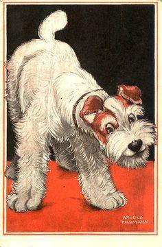 Terrier Dog Art Deco Postcard Signed Arnold Tilgmann | eBay