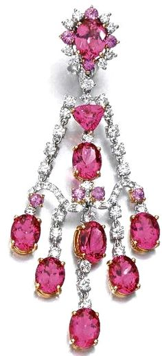 Pink Sapphire, Pink Spinel & Diamond Earring