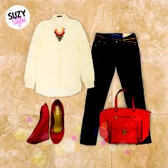 Suzy Styles. Perfect outfit for a lunch with the girls.  Dress it down with a pair of gladiator sandals.  available at www.suzyshier.com