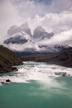 Torres del Paine National Park encompasses mountains, glaciers, lakes, and rivers in southern Chilean Patagonia.