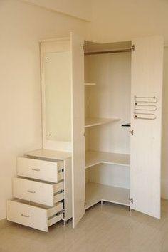 Trendy Ideas for bedroom storage wardrobe small spaces Wardrobe Design Bedroom, Closet Bedroom, Closet Space, Bedroom Storage, Home Bedroom, Storage Mirror, Corner Closet, Bedroom Corner, Dressing Angle