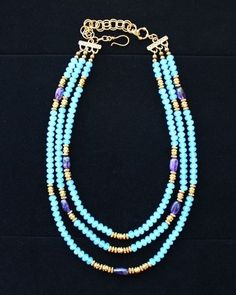 Ocean Blue Crystals, Amethyst & Golden Beads 3 Strand Necklace