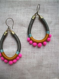 AVIVA Earrings Color Study No. 13--Cotton Floss and Hand Felted Wool Pom Poms. $28.00, via Etsy.