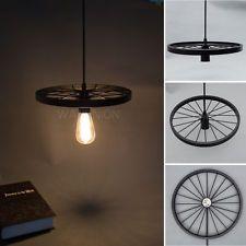 Vintage Industrial Loft Bicycle Wheels Pendant Lights Ceiling Lamp Fixture Shade