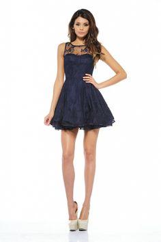 AX Paris- -Women's Lace Kick Out Skater Navy Dress - Online Exclusive-Clothing-Women's-Dresses