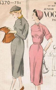 Vintage 1950 Vogue 3370 Sewing Pattern Junior One-Piece Dress Size 11 Bust 30-1/2
