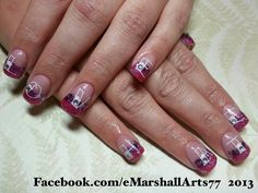 Love & Hate acrylic nails with Young nails glitter and stamped design.