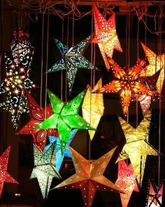 Paper Star lanterns- love these for party decor Holiday Lights, Christmas Lights, Christmas Holidays, Christmas Decorations, Star Decorations, Christmas Stars, Diwali Decorations At Home, Christmas Music, Christmas Stocking