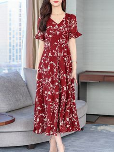 V-Neck Abstract Print Printed Maxi Dress Maxi Dress With Sleeves, Short Sleeve Dresses, Dress Silhouette, Abstract Print, Fashion Prints, Fashion News, Bell Sleeves, Floral Prints, V Neck