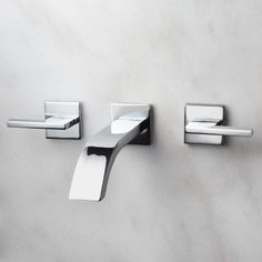 Ultra Wall-Mount Bathroom Faucet - Lever Handles - No Overflow - Chrome