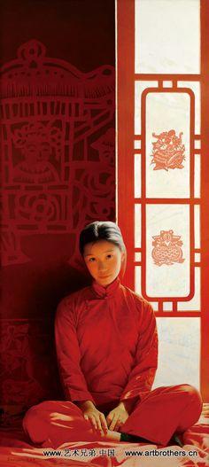 2001 WARM SUNSHINE (温暖的阳光), by Wang Yidong (王沂东; b1955, Yimeng Mountain area of Shandong Province, China). He is an older brother of another notable painter, Wang Yiguang (王沂光; b1960).