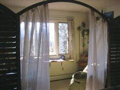 Love the dividing curtain! Exterior Design, Interior And Exterior, Writing Studio, Workspace Inspiration, Extra Rooms, Writers Write, Reading Nook, Kissing, Dream Life