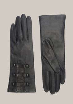 portolano black leather gloves with button detail