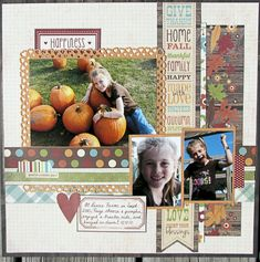2010 at the pumpkin patch, Baby! :) Paige posed for me with the pumpkins and we tried a ride on the tractor (dusty! This is Simple Stories new Harvest Lan Scrapbook Layout Sketches, 12x12 Scrapbook, Scrapbook Templates, Scrapbooking Layouts, Scrapbook Designs, Halloween Scrapbook, Halloween Cards, Fall Halloween, Creative Memories