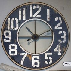 HUGE Wood and Metal Frame Wall Clock