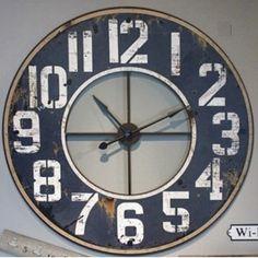 HUGE Wood and Metal Frame Wall Clock