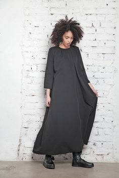 Plus Size Dress/ Loose Dress/ Boho Plus Size Gown/ Black Gown