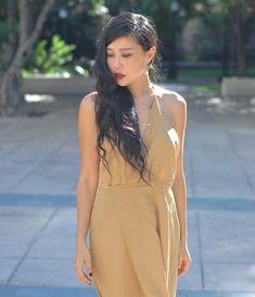 slinky gold cocktail dress Reformation fashion blogger