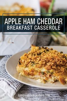 Prep tonight for an easy tomorrow!  I love a loaded breakfast, but a no-fuss, make-ahead breakfast that's layered with bread, ham, apples, onions and cheese then soaked overnight is the best! Apple Ham and Cheese Breakfast Casserole is the perfect start to any weekend. Make it tonight for a stress-free morning. A favourite during the holidays.  #breakfastcasserole #applesandham #makeaheadbreakfasts #holidaysbrunch #wifesavercasserole via @Candy Jar Chronicles Wife Saver Breakfast, Easy To Make Breakfast, Perfect Breakfast, Breakfast Dishes, Breakfast Casserole, Delicious Breakfast Recipes, Brunch Recipes, Ham Recipes, Brunch Ideas