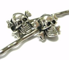 Skeleton Hair Cross Bone Hair Clip Female Pirate Costume Accessory Skull Bobby Pins 2pcs