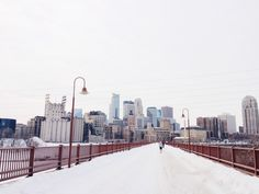 Stone Arch Bridge in the snow, Minneapolis