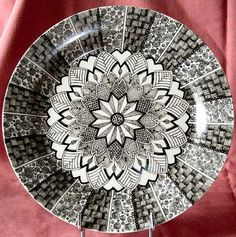 Black & White Zendoodle Plate 1 - all done with a pen and black ceramic pigment