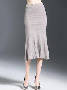 Gray Elegant Ribbed Mermaid Midi Skirt