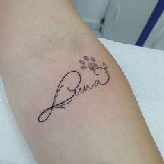 Name tattoos, pretty favorite animal name tattoo, small tattoo . - Name tattoos, pretty favorite animal name tattoo, small tattoo … – TATTâ ¤ –# hübsches # - Luna Tattoo, Tattoo Life, Bff Tattoos, Name Tattoos, Trendy Tattoos, Tattoos For Pets, Tatoos, Tattoos For Women Small, Small Tattoos