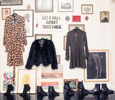 Inside LPA The Label's Founder Pia Arrobio's Closet: L to R Leopard Dress, LPA, Patterned Dress LPA; Fur Jacket, LPA; Shoes and Boots, Valentino, Saint Laurent, Acne Studios, Gucci | coveteur.com