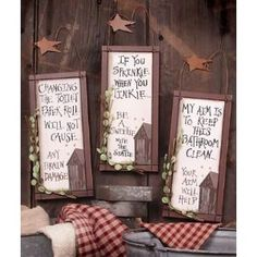 3 Outhouse Wood Primitive Bathroom Signs Wall Decor with Hangers Rustic Stars Outhouse Bathroom Decor, Bathroom Signs, Bathroom Ideas, Cowboy Bathroom, Bathroom Wall, Primitive Bathrooms, Farmhouse Bathrooms, Laundry Decor, Home Gadgets