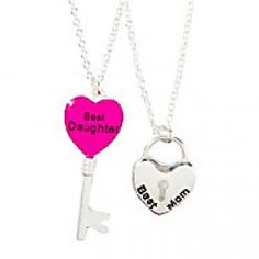 Best Mom and Daughter Heart Key and Lock Pendant Necklaces Set of 2