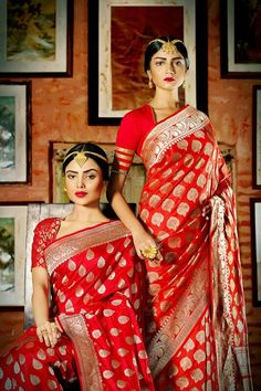 Abira Jewellery - red and gold benarasi sarees - quintessential bengali bride