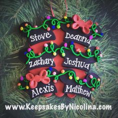 Family of 6 Mickey Ears Christmas Ornament personalized by www.KeepsakesByNicolina.com