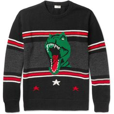 Saint Laurent Dinosaur-Jacquard Wool Sweater ($990) ❤ liked on Polyvore featuring men's fashion, men's clothing, men's sweaters, mens graphic sweaters, mens star wars sweater, mens wool sweaters and mens striped sweater