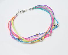 Funny Pearls ♥ Armband 925 Silberkugeln Neonfarben von Andressâ auf DaWanda.com